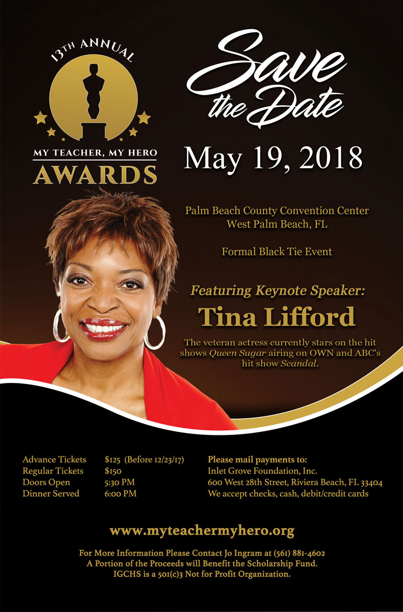 Tina Lifford 2018 My Teach My Hero Awards Guest Speaker
